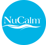 NuCalm logo with wavy line underneath, cyan blue